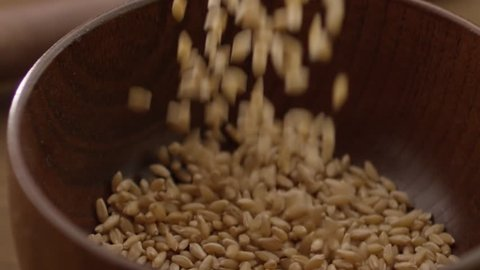 wheat grains falling in a wooden cup close-up on a black background