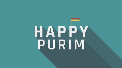 "Purim holiday greeting animation with gragger icon and english text ""Happy Purim"". flat design loop."