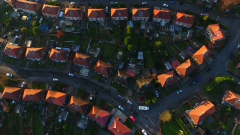 Aerial drone shot of British housing council estate in the UK, English house and homes from above, semi detached