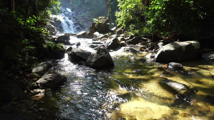 Small waterfall in Phang nga Thailand,4-K pan and tilt shot  | Shutterstock HD Video #1007166229