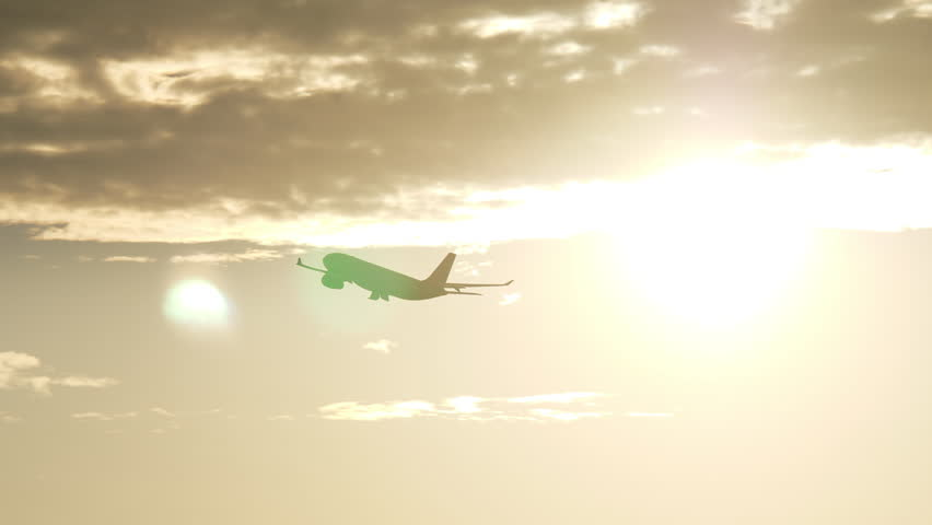 Airplane gaining height after taking off. Silhouette of jet flying at sunset against golden sky and bright sunlight   Shutterstock HD Video #1007178049