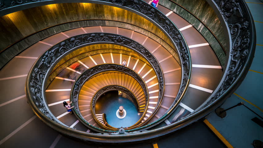 Time Lapse of People on Bramante Staircase in Vatican Museums in the Vatican City , Rome , Italy . The double helix staircase is is the famous travel destination of The Vatican and Rome , Italy. | Shutterstock HD Video #1007186239