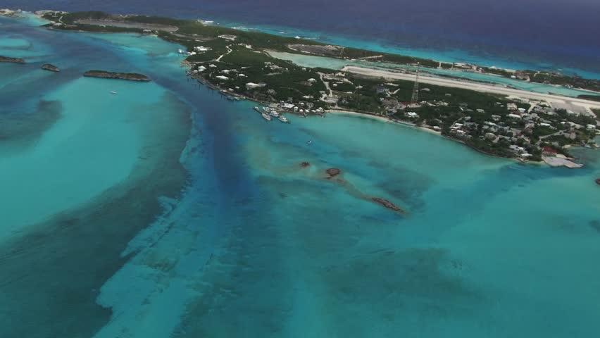 Staniel Cay Bahamas AERIAL. Sub tropical island jewel, in the Exuma chain.