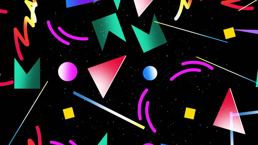 Motion retro shapes abstract background. Elegant and luxury dynamic geometric 70s, 80s, 90s Memphis style template in 4k footage. Video format 3840x2160