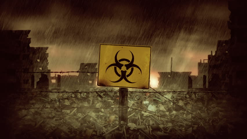 Biohazard symbol. Rain Over the City Ruins. Animation of post apocalyptic scene