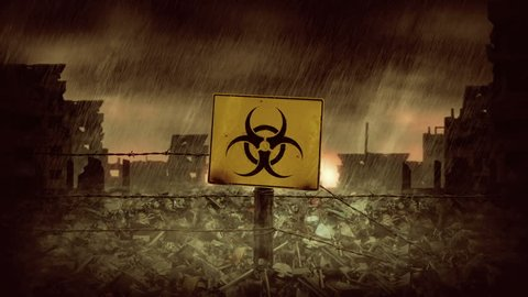 Biohazard symbol. Rain Over the City Ruins. Animation of post apocalyptic scene