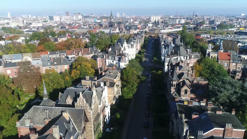 Urban aerial Belgium Antwerp Zurenborg area in south-east Antwerp largely developed between 1894 and 1906 that features high concentration of townhouses in Art Nouveau and other fin-de-siècle styles