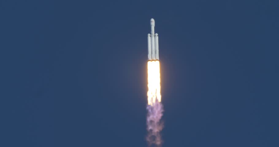 KENNEDY SPACE CENTER, FL - FEBRUARY 06: SpaceX launch of the Falcon Heavy Demo flight.  Launched from Complex 39A February 06th, 2018. Successful Launch.