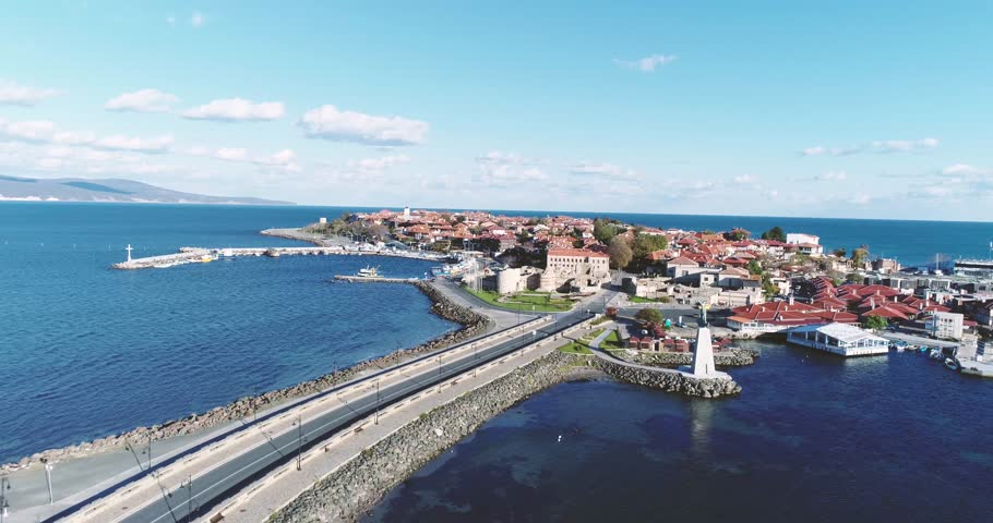 4K aerial footage of Nessebar, ancient city on the Black Sea coast of Bulgaria.