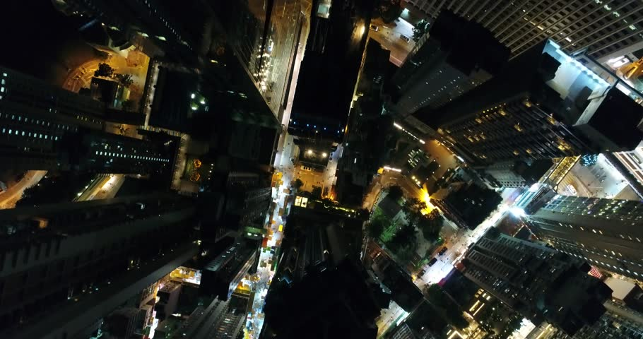 AERIAL. 90 degree View from the dron to nights city streets in Hong Kong | Shutterstock HD Video #1007285719