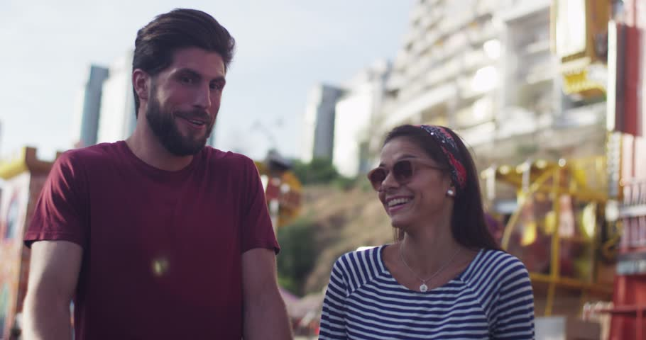 Close up young romantic couple walking talking smiling feel happy sunset love summer man nature flirting fun women people portrait face relationship adult cheerful men relaxation outdoors slow motion | Shutterstock HD Video #1007307409