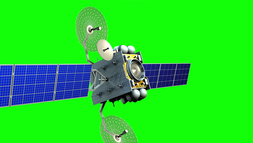 Fictional artificial satellite on green screen, 3d animation