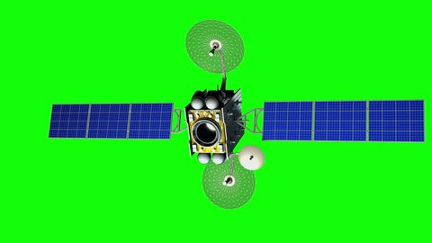 Fictional artificial satellite rotates on green screen, seamless loop, 3d animation