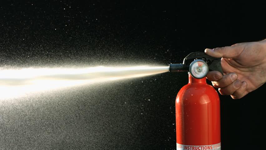 Fire extinguisher spraying