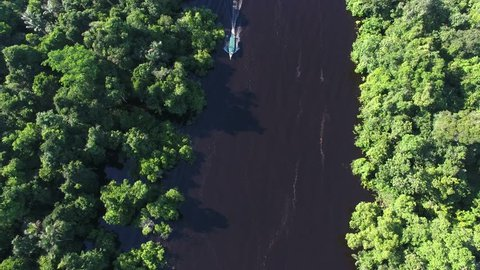 Aerial view of boat at Anavilhanas, the biggest fluvial archipelago of the world, at Negro River, Amazon jungle, Novo Airão city, Amazonas, Brazil