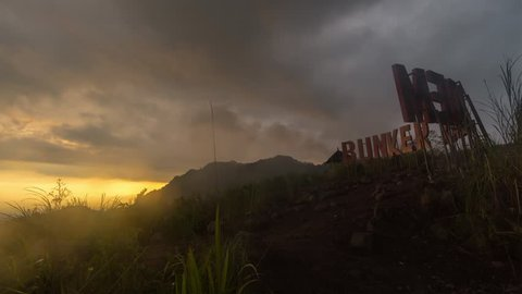 Sunset Time Lapse at Bunker Kaliadem, Sleman Yogyakarta which location of Mount Merapi view at jogjakarta. Tilt from right to down