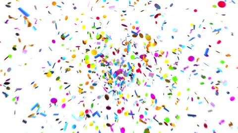 Confetti Party Popper Explosions on a Green Background. 3d animation, 4K.