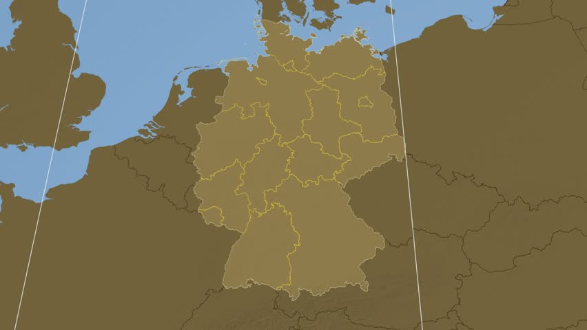 Elevation Map Of Germany.Berlin State Extruded On The Stock Footage Video 100 Royalty Free