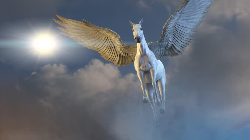 horse with wings Pegasus flies against the sky 3D render