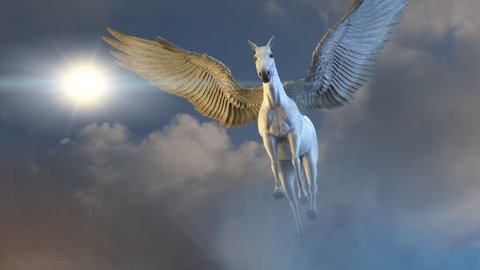 horse with wings Pegasus flies against the sky 3D render