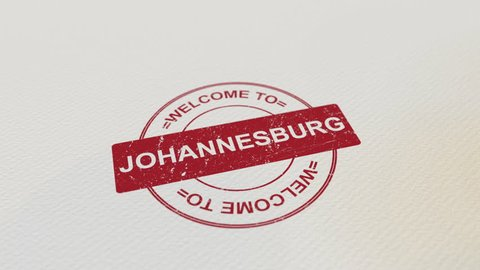 WELCOME TO JOHANNESBURG wooden stamp animation. Alpha matte for easy background change