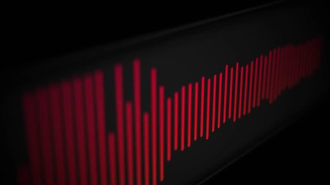 Camera pans over modern cool sleek audio spectrum or waveform of a song - Red Version