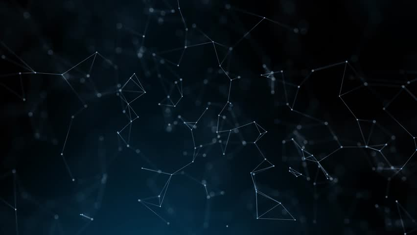 Futuristic network lines and dots movement on dark blue background. Selective focus used.  | Shutterstock HD Video #1007484565