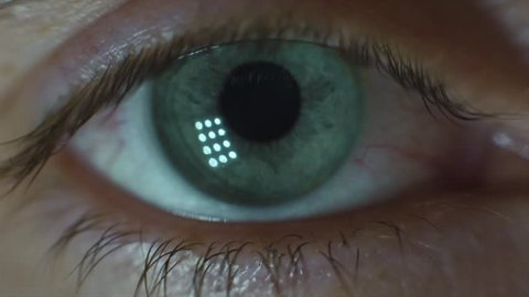 Man's Eyes Close-up. Video. Close-up of man's eye, nervous movement. Pupil looks around
