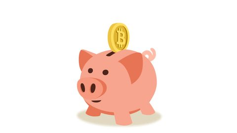Bitcoin crypto currency  coins falling into a pink piggy bank. Animation with alpha matte