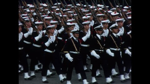 PARIS, 1970, Archival, French navy and paratroopers, marching in the Bastille Day Parade