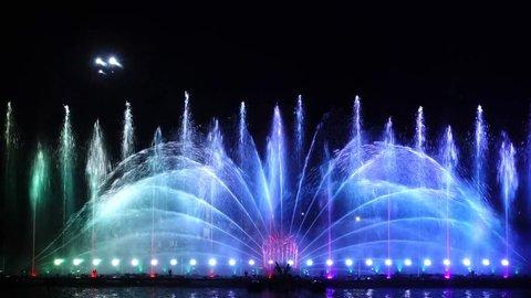 The beautiful dancing fountains, Loei, Thailand.