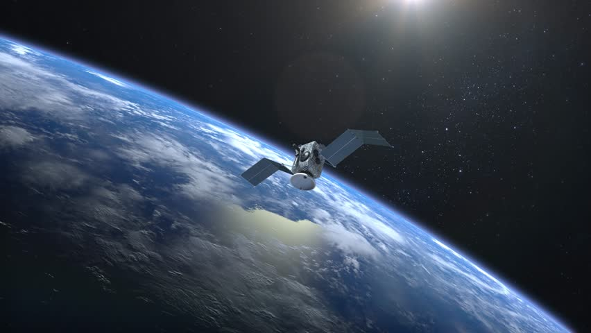 Flying satellite scan and monitor the Earth. The satellite opens solar panels. The Earth's horizon is turned to the right. The earth rotates slowly. 4K. | Shutterstock HD Video #1007645449