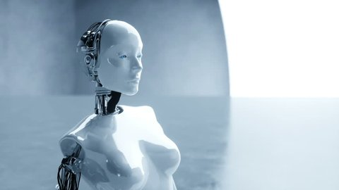 Futuristic humanoid female robot is idle. Concept of future. Realistic 4K animation.
