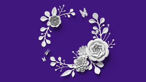 3d rendering, growing paper floral wreath, botanical background, blooming paper flowers, round frame, blank greeting card, violet , 4k hd