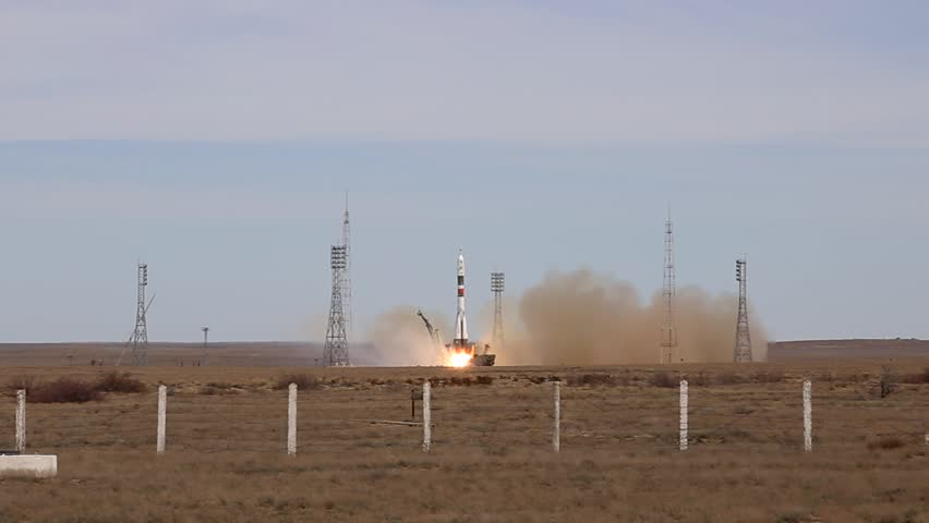 Launch of the spaceship Soyuz to International Space Station from Baikonur Spaceport