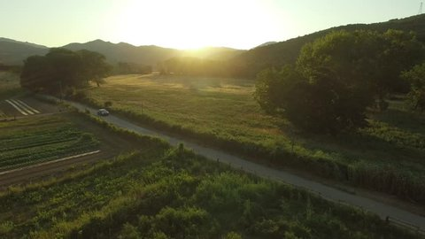 Aerial view of car driving along empty country road in the middle of the green hills at golden summer sunset