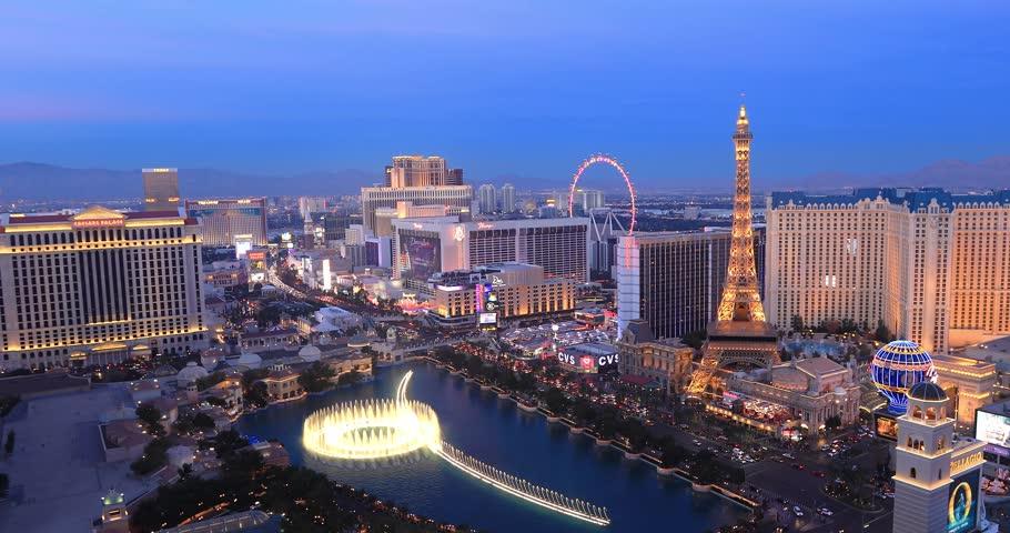 Las Vegas, USA - January 02, 2018: Illuminated view Bellagio Hotel fountains and Las Vegas strip