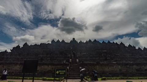 Time Lapse of Heritage Buddist temple Borobudur complex in Yogjakarta in Java, indonesia.