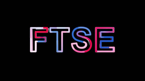 Letters are collected in World stock index FTSE, then scattered into strips. Bright colors. Alpha channel Premultiplied - Matted with color black