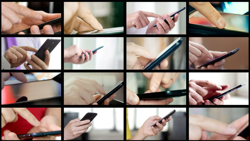 Collage of different people hands texting or typing SMS on smartphones. They using cell phones and smart phones. Technology and communication concept. 8K UltraHD (UHD) video | Shutterstock HD Video #1007747479