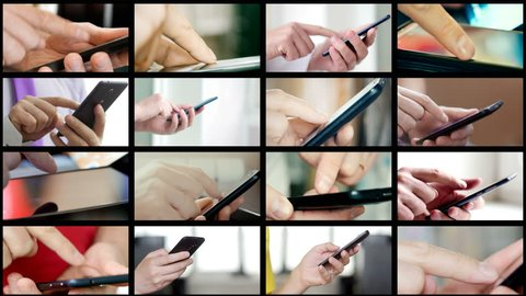 Collage of different people hands texting or typing SMS on smartphones. They using cell phones and smart phones. Technology and communication concept. 8K UltraHD (UHD) video