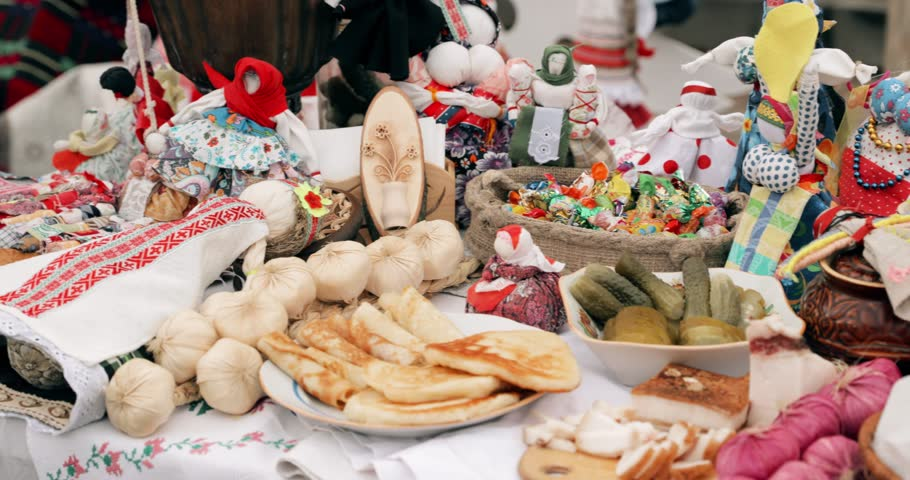 Traditional Belarusian Cuisine - Pancakes. Attribute Of Traditional Folk Celebration Of Eastern Slavic National Traditional Holiday Maslenitsa. Winter Spring Holiday. Belarusian Folk Dolls.