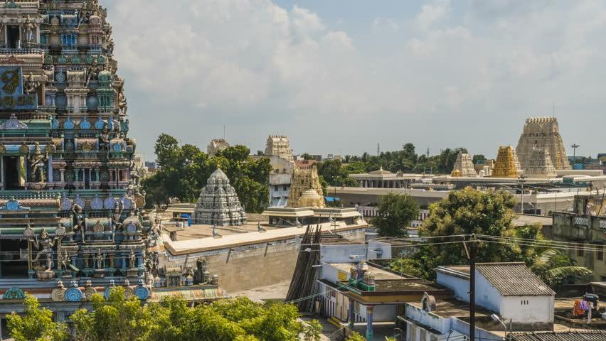 Kumarakottam temple in Kanchipuram and nearby street, India, 4k time lapse
