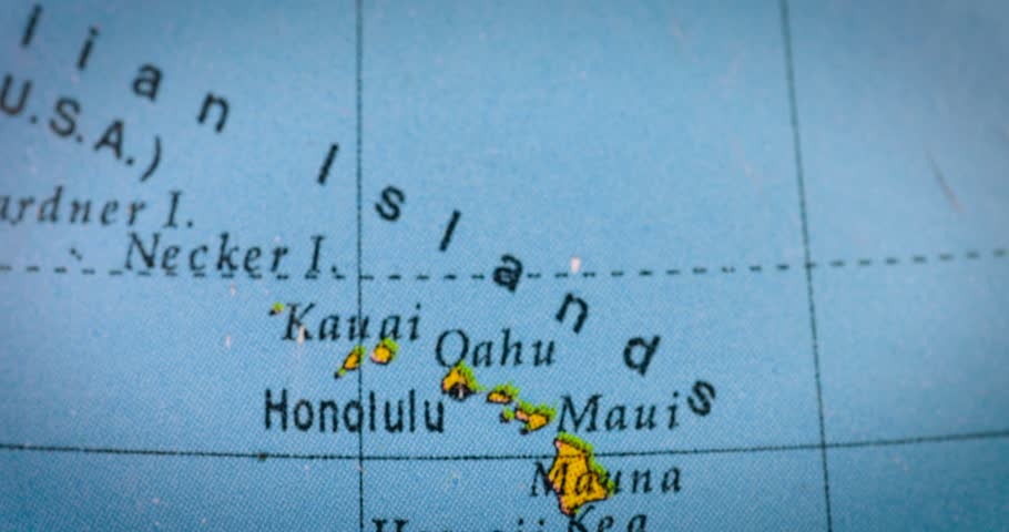 Jakarta indonesia february 20 2018 macro shot of a world map jakarta indonesia february 20 2018 closeup of hawaii islands map on the gumiabroncs Gallery