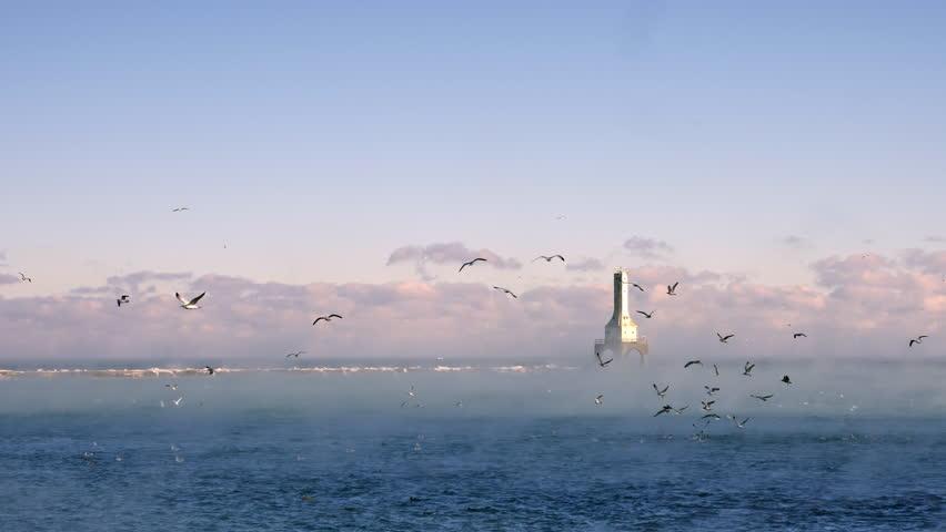 Port Washington Lighthouse in Fog, Port Washington, Wisconsin, USA With Birds Flying In Slow Motion 4K  Shot on Panasonic GH5 In Native 4K