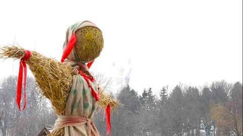 Close-Up Straw Effigy Of Dummy Of Maslenitsa, Symbol Of Winter And Death In Slavic Mythology