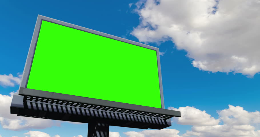 Empty billboard with chroma key green screen, on blue sky with clouds, timelapse movement, advertisement concept | Shutterstock HD Video #1007858929