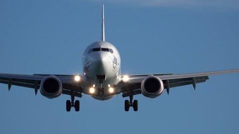 WELLINGTON, NEW ZEALAND - FEB 24:  Qantas Boeing 737 jet airplane landing on February, 2018 in Wellington, New Zealand
