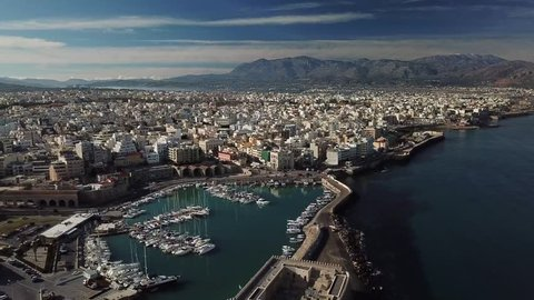 Aerial view of Heraklion harbour from the old venetian fort Koule, Crete, Greece