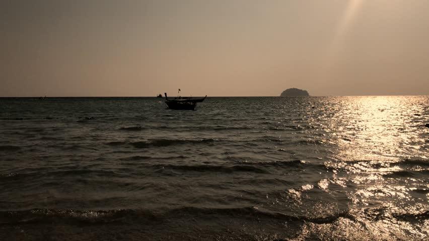 Black beach at sunset